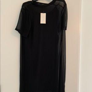 Zara sheer black dress with black slip